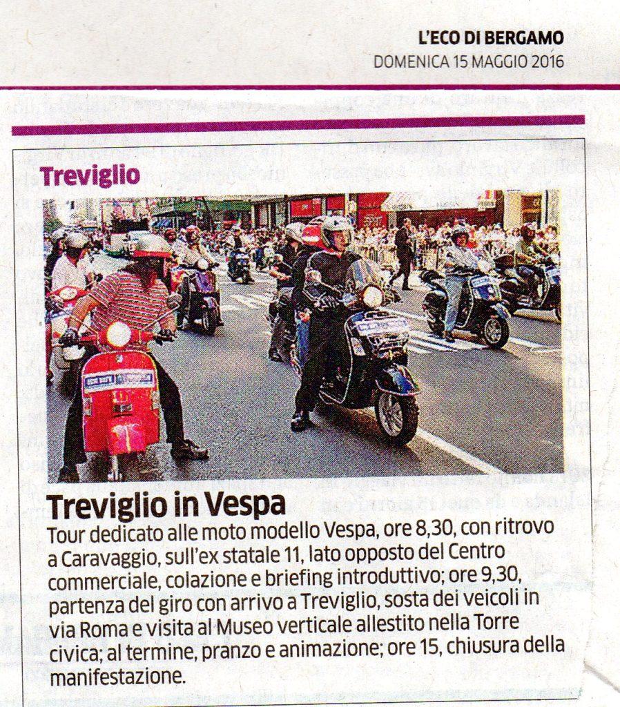 Treviglio in Vespa – L'Eco di Bergamo del 15/5/2016