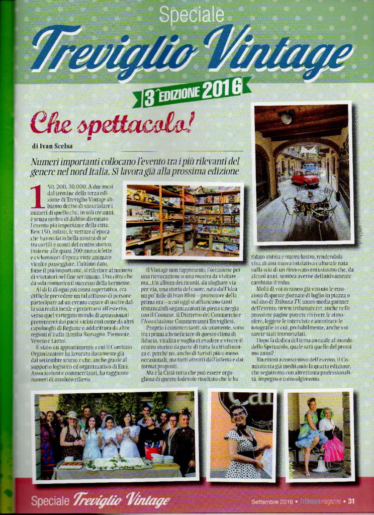 TREVIGLIO VINTAGE 2016 – Speciale Tribuna Magazine Settembre 2016